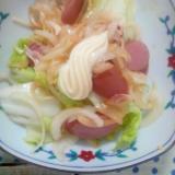 ウィンナー白菜玉葱トマトケチャップ炒めマヨネーズ