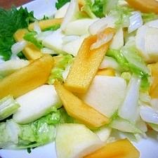 秋の味覚☆柿とリンゴと白菜のサラダ