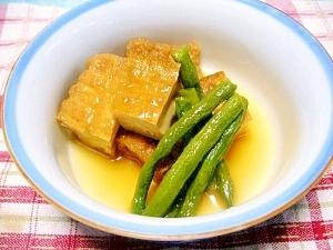 1つの鍋で簡単に 生揚げとインゲンの炊き合わせ