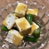 アスパラと堅豆腐の辛子酢味噌和え