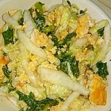 大根の葉と白菜のエッグごまドレポン酢サラダ