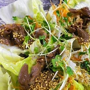 生姜焼き牛肉サラダ