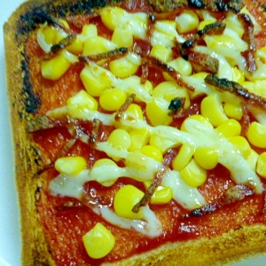 簡単♪朝ごパン♪コーンとサラミのピザマヨトースト