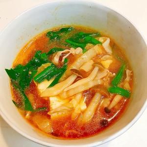お手軽韓国菜☆白菜と豚肉とニラのピリカラ豆腐チゲ