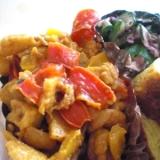 長芋とパプリカと鶏肉のオイスターカレー粉炒め