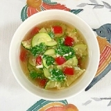 ズッキーニ、パプリカ、わさび菜の卵スープ
