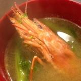 赤海老の頭と菜の花のお味噌汁