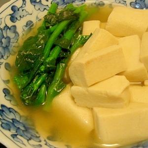 高野豆腐と菜の花の炊き合わせ