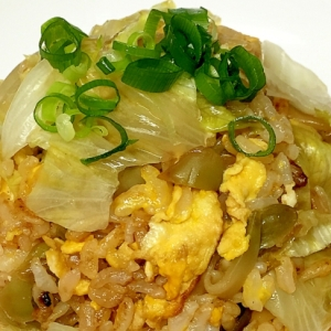 コンソメで搾菜とレタスのたまご炒飯♪