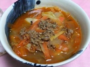 根菜とひき肉の濃厚スープ