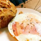 簡単レンジ☆朝食に便利な時短ベーコンエッグ