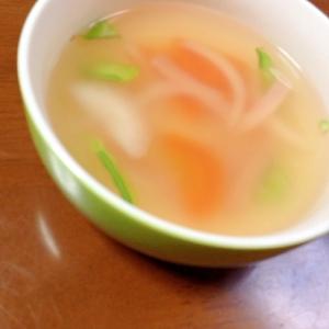 ハム絹さや人参玉ねぎのコンソメスープ