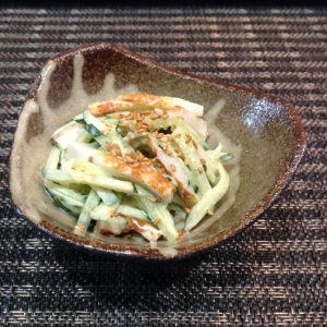 竹輪ときゅうりの味噌マヨぽん