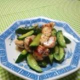 簡単鶏ムネ肉と胡瓜のオイマヨ炒め
