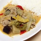 豚肉と夏野菜のタイカレー(レッドカレーペースト)