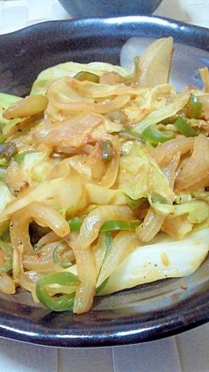 キャベツと玉ねぎのピリ辛味噌炒め