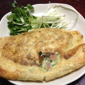 ニラと魚肉と豆腐の巾着焼き