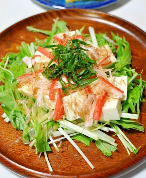 豆腐とカニカマと水菜の和風サラダ