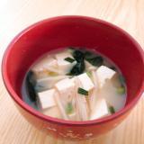 豆腐とえのきとわかめと小ねぎの味噌汁