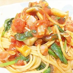 簡単♪薄味トマトとベーコンきのこのパスタ