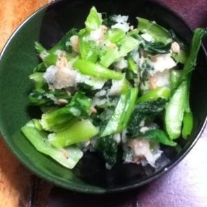 小松菜とアミエビのおろし和え