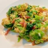 サラダ菜と紅生姜の卵炒め