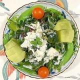 リーフレタス 、海藻サラダ、キウイのサラダ