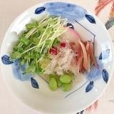 板蒲鉾、枝豆、糸寒天の和え物