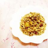 栗の渋皮煮入り♪緑茶と卵のリゾット風炒飯