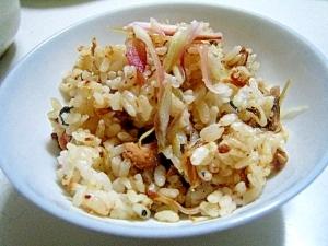 サバ缶でサバとミョウガの簡単混ぜご飯