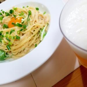 たらこと水菜のスパゲッティ