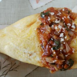 和風トマトソースのオムライス*卵に粉チーズ入り。