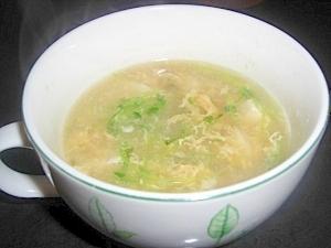 豆苗とお豆腐の中華風スープ