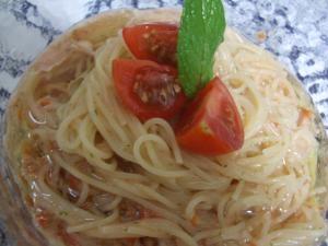 ミント味トマトの冷製パスタ