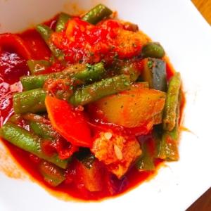 ズッキーニといんげんの☆夏野菜トマト煮