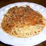 ロールキャベツの残り汁で簡単野菜スパゲッティ