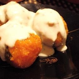 レンジで簡単、かぼちゃのブルーチーズソース