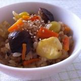 栗と銀杏と椎茸の炊き込みご飯♬