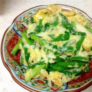 プチプチ胡麻とシャキシャキ韮の入ったフワフワ卵