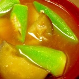 オクラ・なすの味噌汁