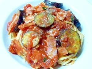 トマト風味\(^-^)/「茄子とベーコンのスパ」