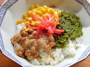 5分!まな板なし❤納豆で3色丼♪(なめ茸ご飯)