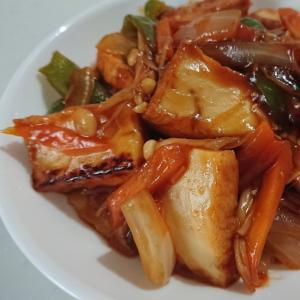 厚揚げ酢豚風~肉無し節約~