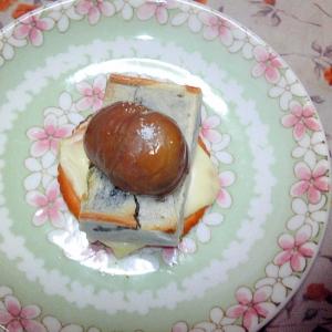 抹茶きんつばと甘栗とチーズのリッツ