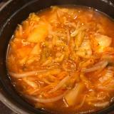 野菜たっぷり♫白菜ともやしのコク旨キムチ鍋風スープ