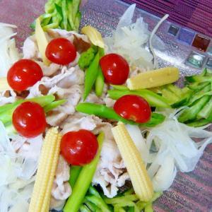 ❤ 贅沢濃厚ごまだれで! 夏野菜と豚肉のサラダ ❤