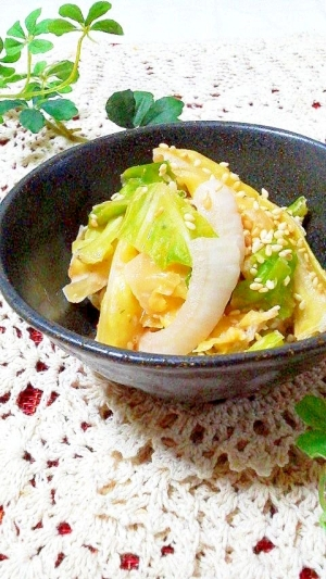 ❀春キャベツと新玉ねぎのワサビマヨごま酢味噌和え❀