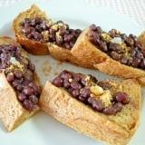 黒パンの小豆あんときな粉、塩糀のせ