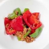 青椒肉絲の素で 豚挽き肉とピーマンの炒め物