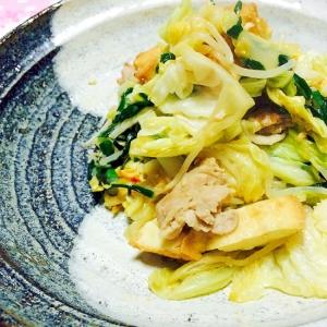 豚バラと厚揚げと野菜のピリ辛味噌炒め